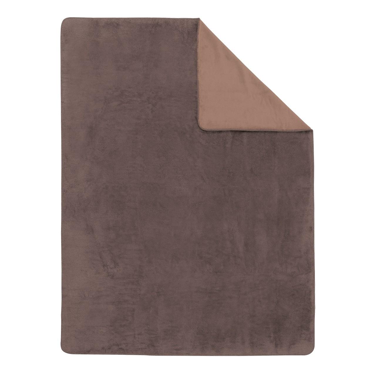 Home 24 - Couverture unie double-face sorrento - marron / marron café - 150 x 200 cm, ibena