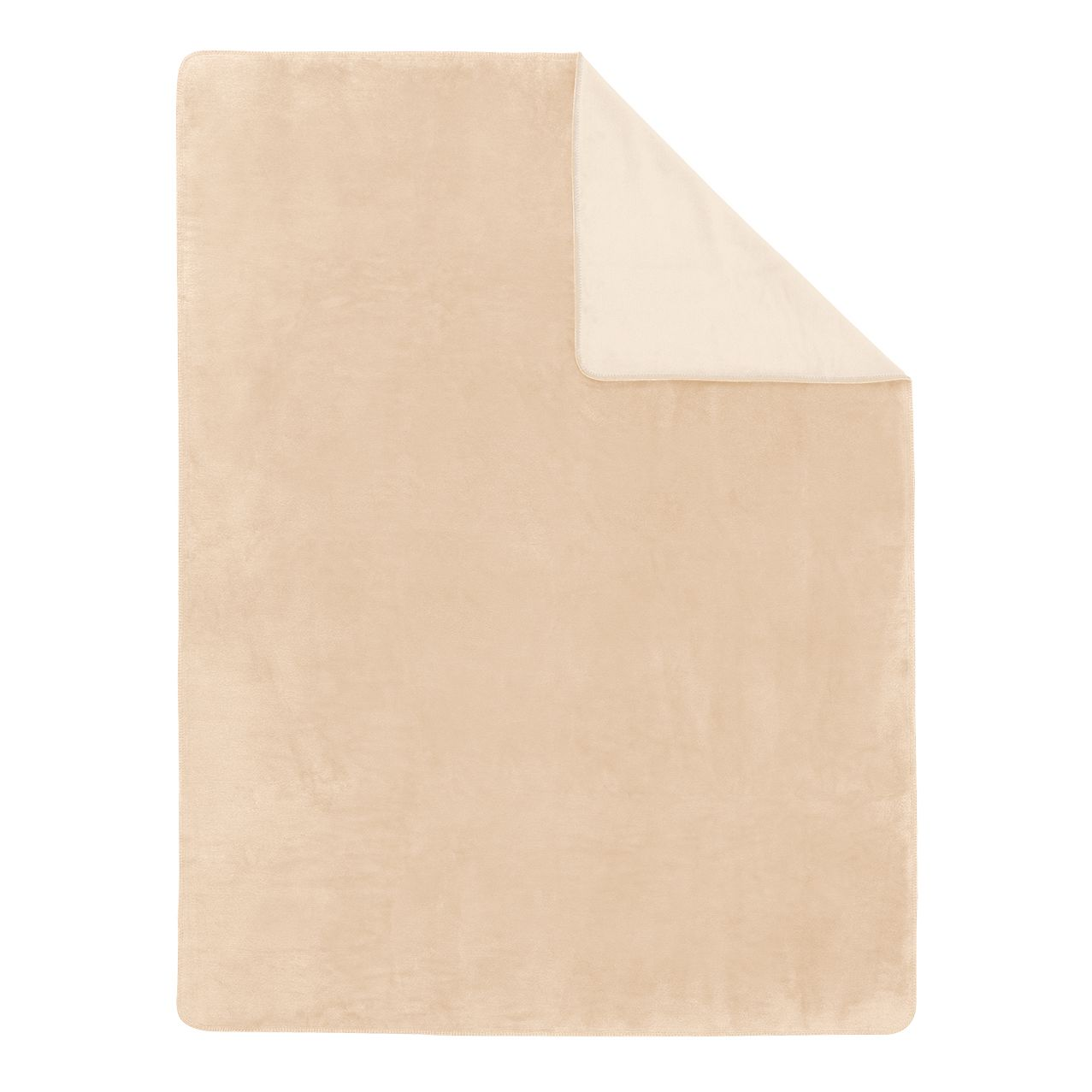 Image of Coperta a tinta unita Sorrento Doubleface - Color bianco crema / Bianco - 100 x 150 cm, Ibena