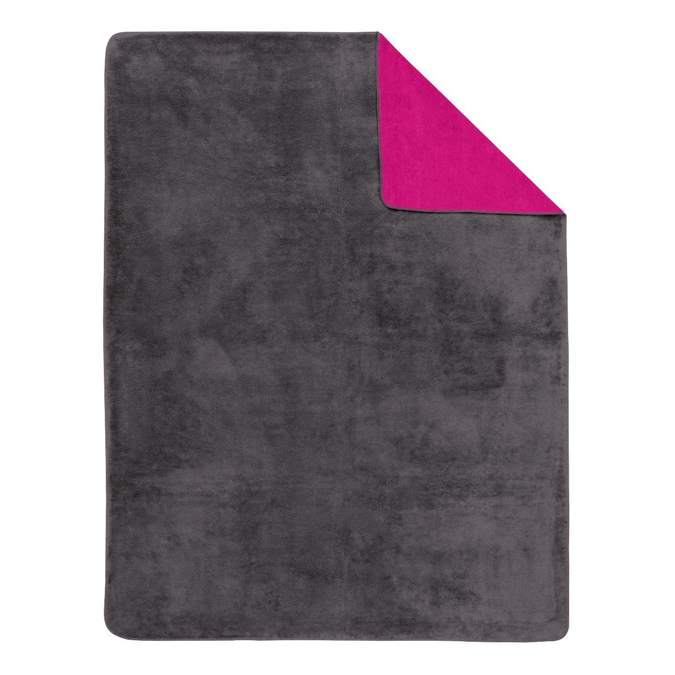 Home 24 - Couverture unie double-face sorrento - gris foncé / rose vif - 150 x 200 cm, ibena