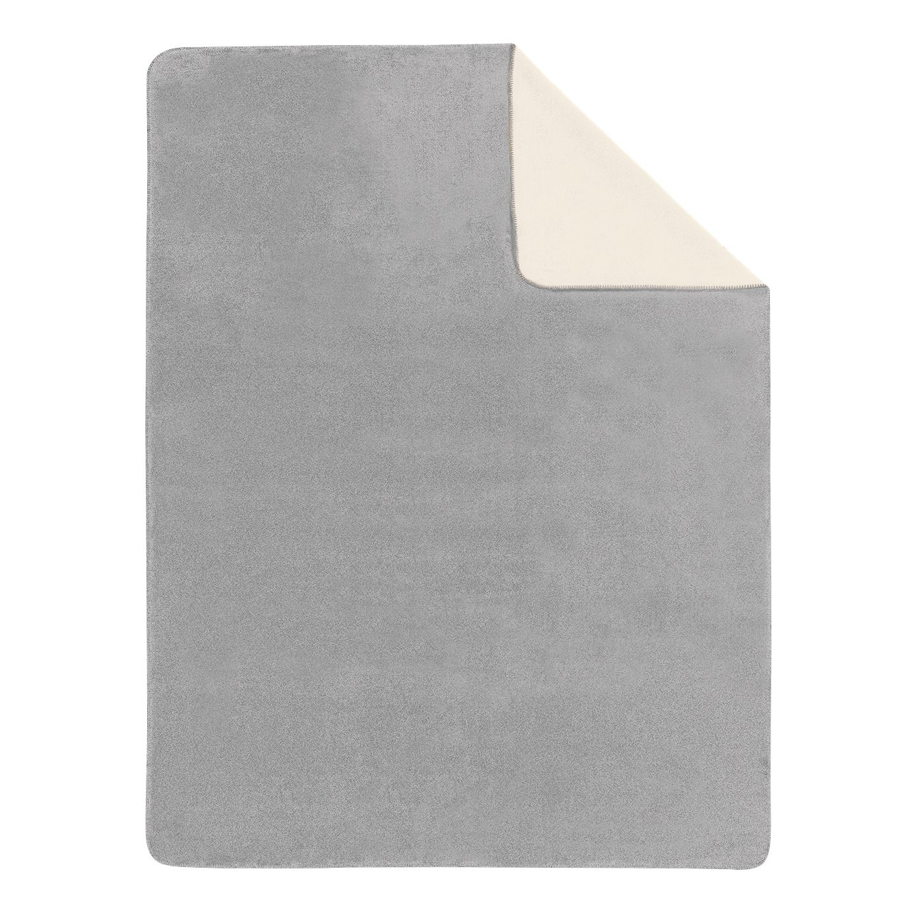 Image of Coperta a tinta unita Sorrento Doubleface - Grigio / Color crema - 150 x 200 cm, Ibena