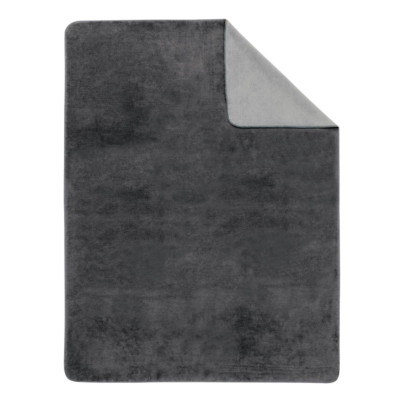 Effen deken Sorrento Doubleface - Grijs/lichtgrijs - 220x240cm, Ibena