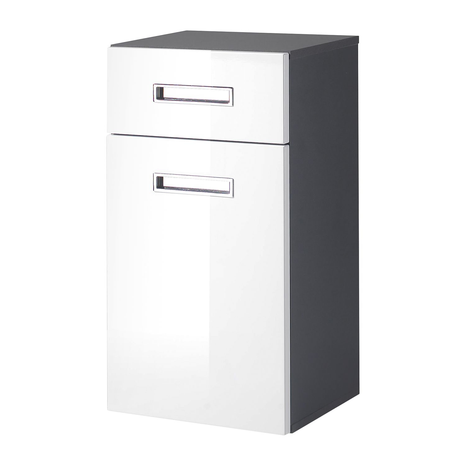 Armoire basse Braddock - Blanc brillant / Anthracite, mooved