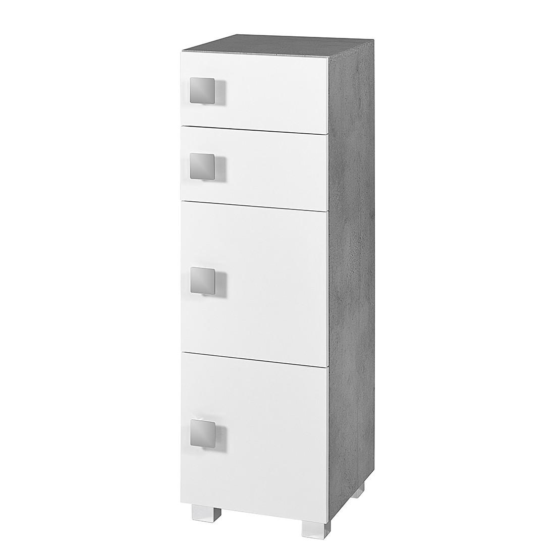 Mobiletto Genf - Bianco lucido/Grigio pietra A 2 ante/2 cassetti, Schildmeyer