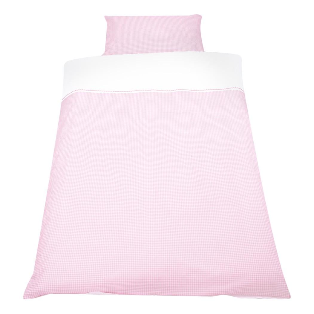 Baby beddengoed set Vichy Karo 2 delig   overtrek en kussensloop   roze_ Pinolino