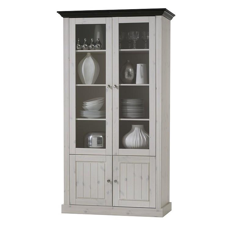 Home 24 - Armoire vitrine lyngby i - pin massif - blanc / wengé, maison belfort