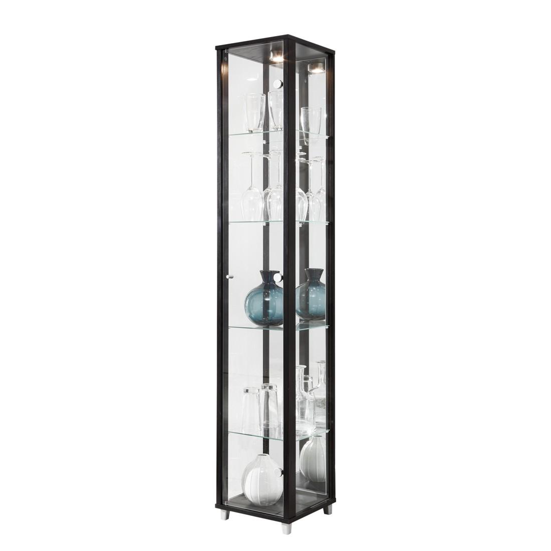 energie  B, Vitrinekast Exhibit I - met spiegelwand - transparant glas/zwart - 5 vakken - Zwart, Modoform
