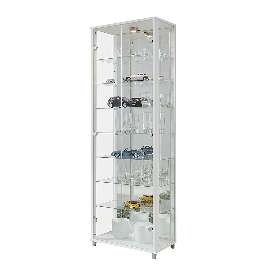 Home 24 - Eek b, vitrine winnipeg ii - verre clair / blanc - avec 7 étagères, modoform