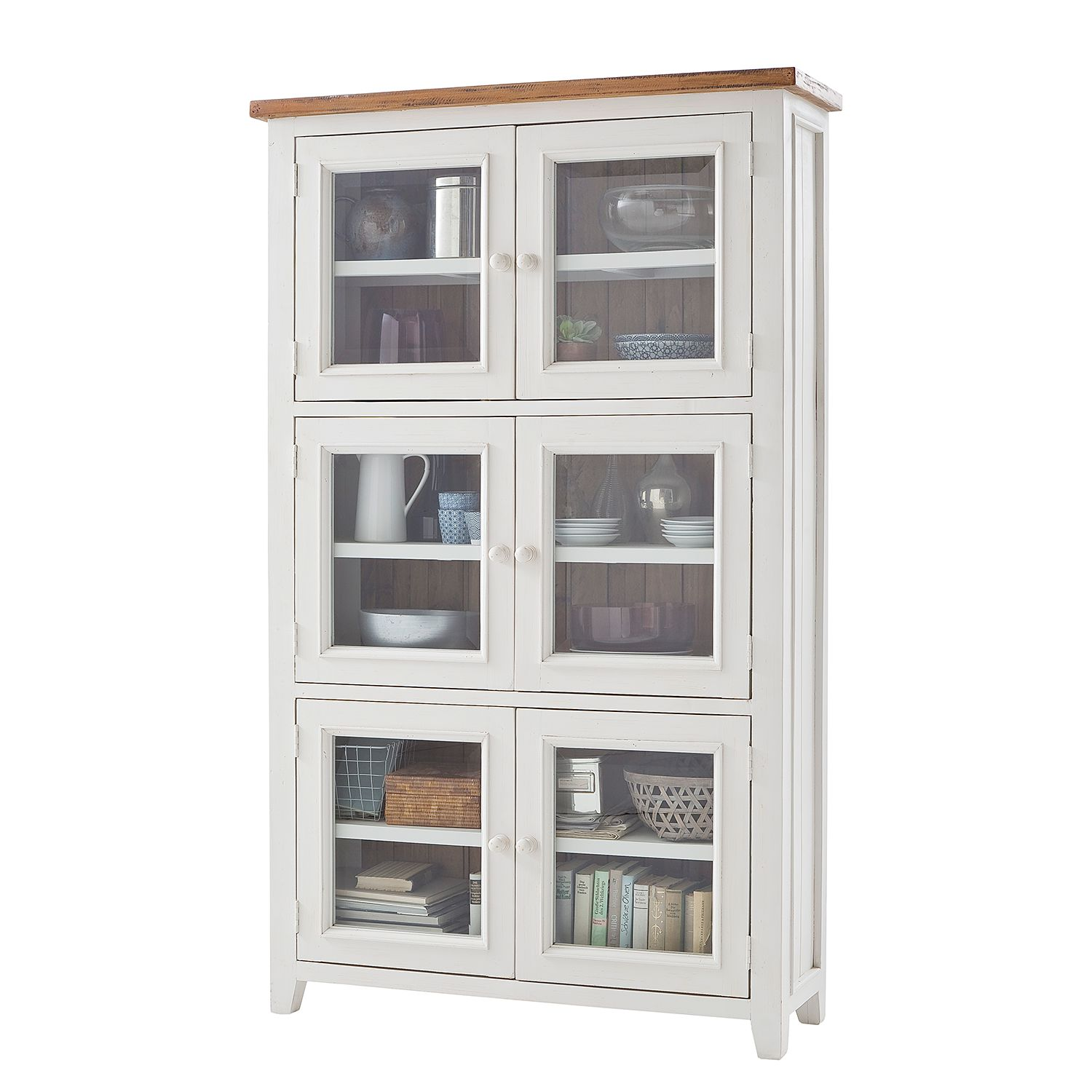 armoire vitrine balignton pin massif blanc maison belfort par maison belfort chez home24 fr. Black Bedroom Furniture Sets. Home Design Ideas
