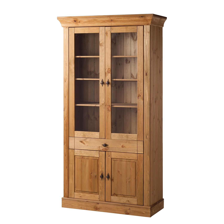 Vitrinekast Bergen IV - massief grenenhout - loogkleurig, Landhaus Classic