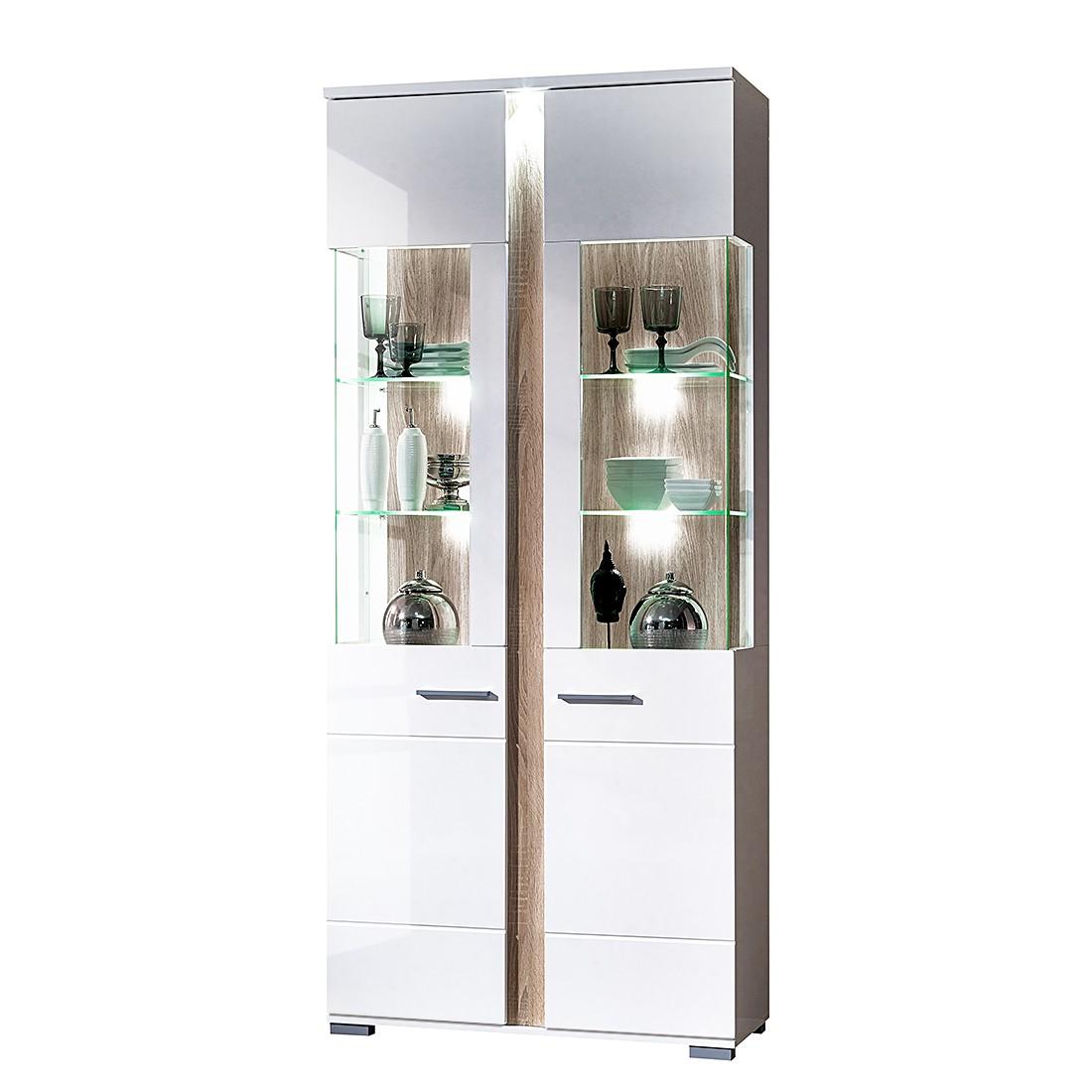 EEK A+, Armoire vitrine Campo (avec éclairage) - Blanc brillant / Imitation chêne de Sonoma clair -