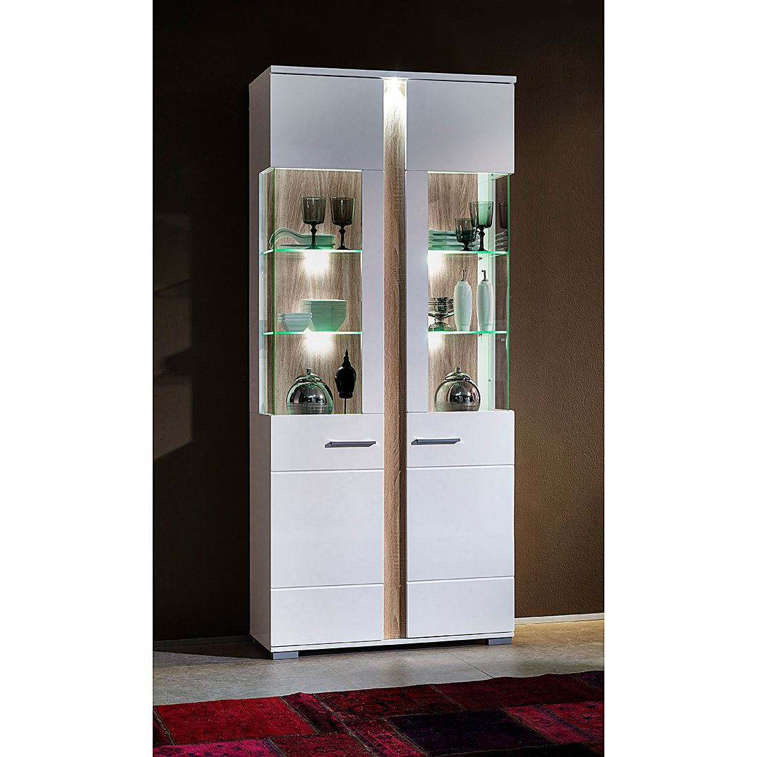 standvitrine glasvitrine sammlervitrine vitrinenschrank spiegel beleuchtet vitrine weiss smash. Black Bedroom Furniture Sets. Home Design Ideas
