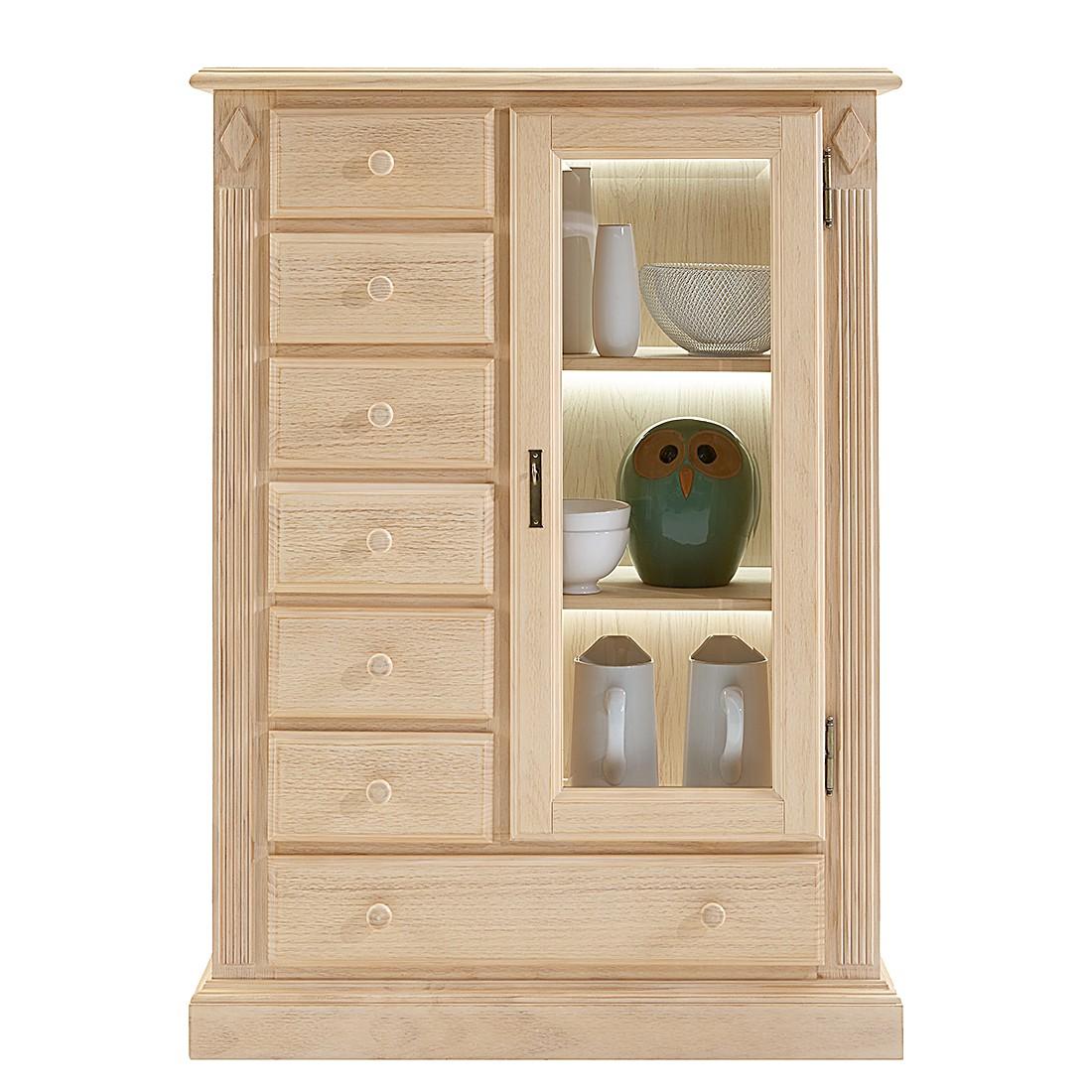EEK A+, Armoire vitrine Breddin I - Pin massif - Avec éclairage, Landhaus Classic