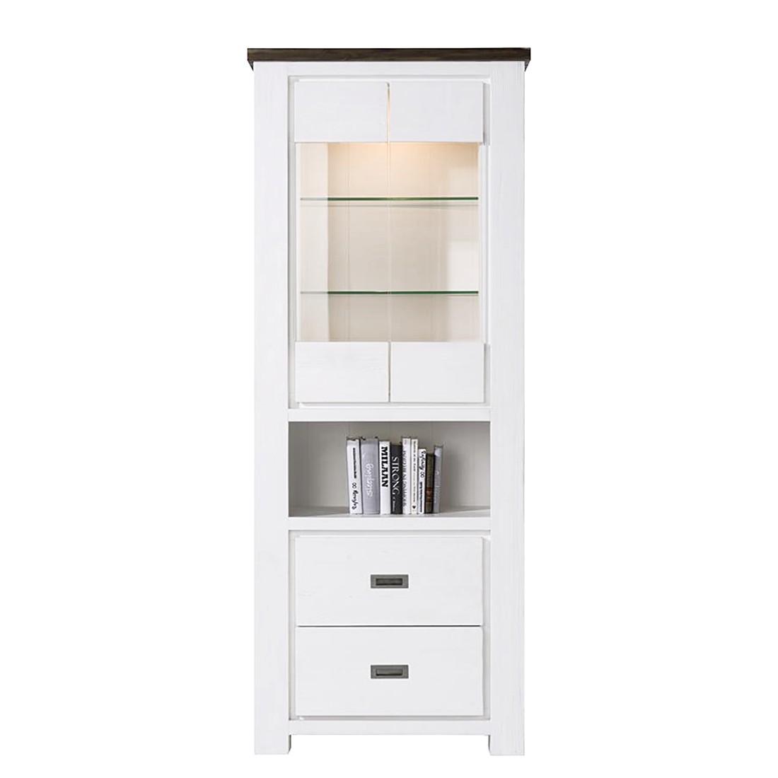 Home 24 - Eek a+, vitrine deaumain - eclairage fourni - acacia partiellement massif - blanc, habufa