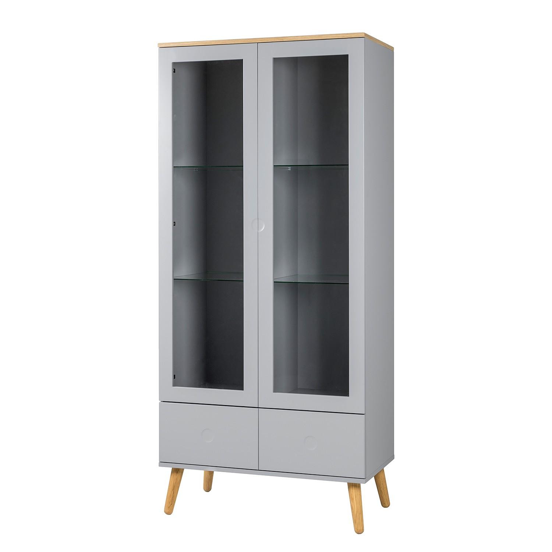vitrinenschrank dot eiche teilmassiv grau tenzo g nstig kaufen. Black Bedroom Furniture Sets. Home Design Ideas