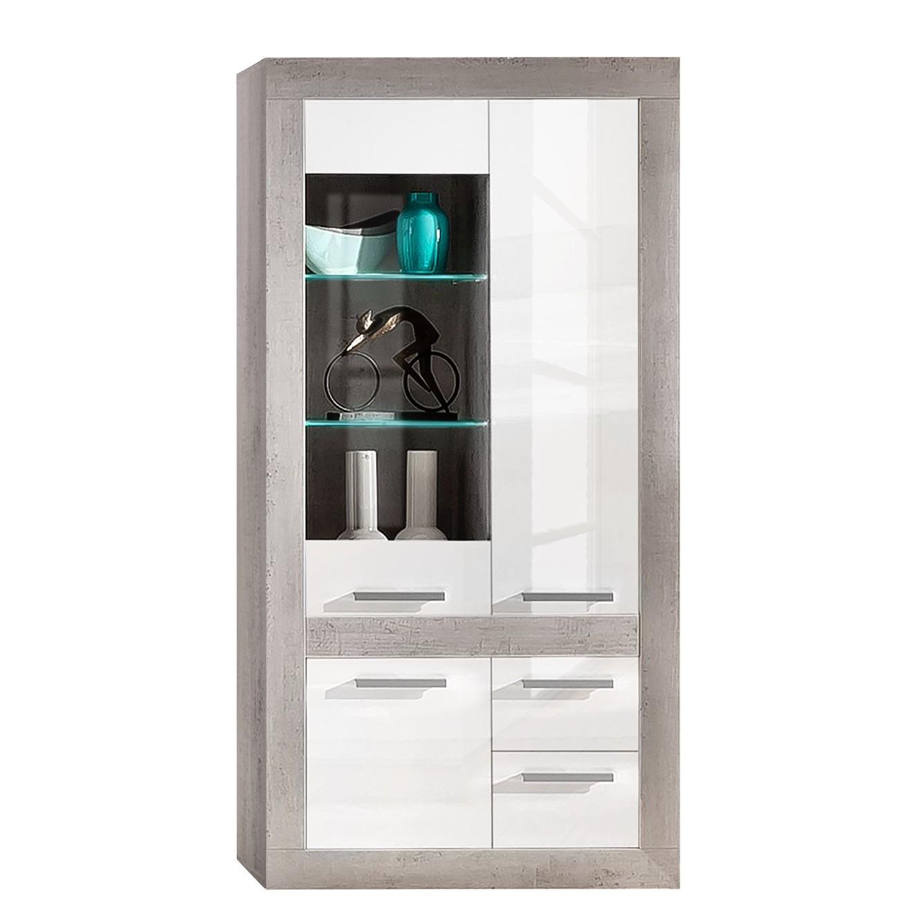 EEK A+, Armoire vitrine Grevenkop (avec éclairage) - Blanc brillant / Béton, Trendteam