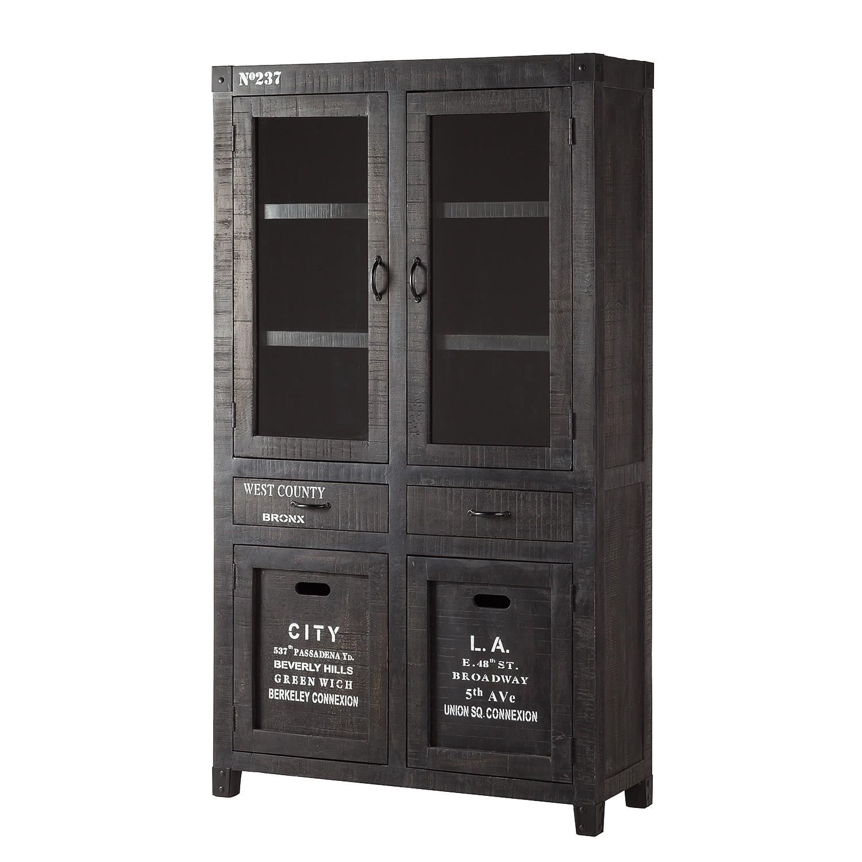 Armoire vitrine Keyport - Manguier massif - Gris cendres / Noir, ars manufacti