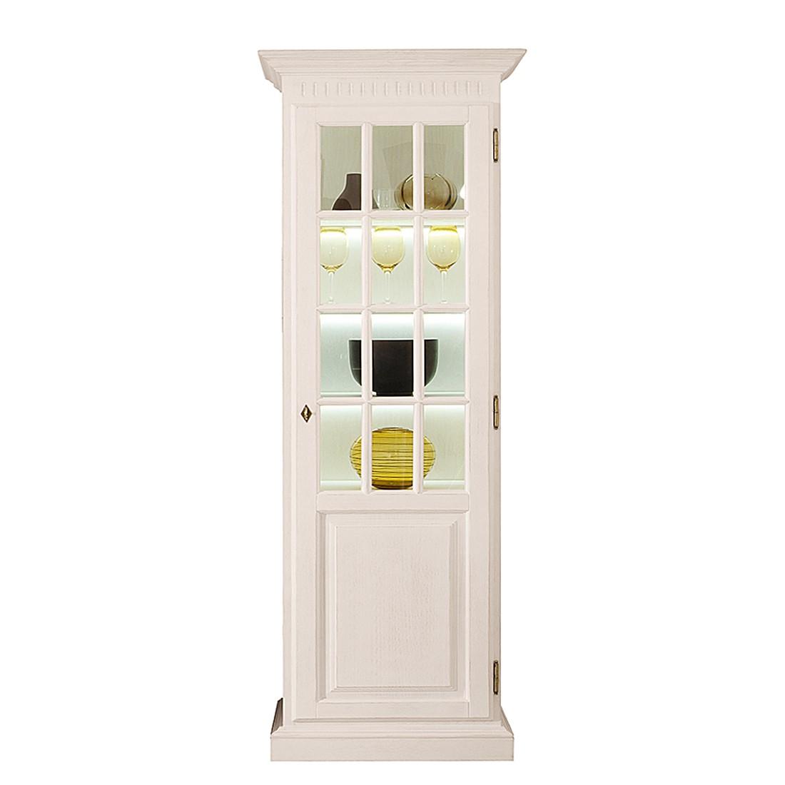 EEK A+, Armoire vitrine La Carlotta II - Pin massif - Crème - Avec éclairage, Ridgevalley