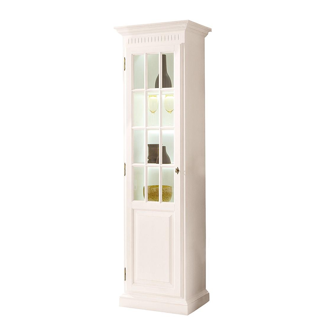 EEK A+, Armoire vitrine La Carlotta III - Pin massif - Crème - Avec éclairage, Landhaus Classic