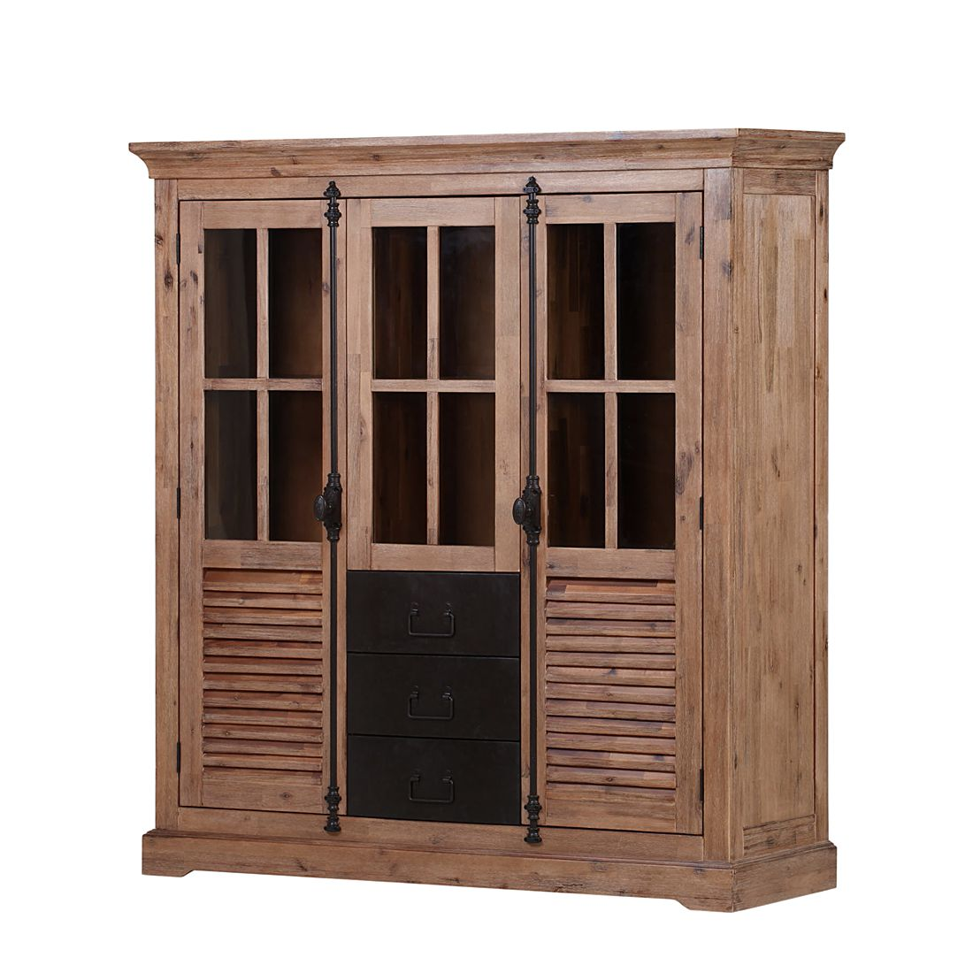 armoire vitrine le havre i acacia massif ridgevalley. Black Bedroom Furniture Sets. Home Design Ideas