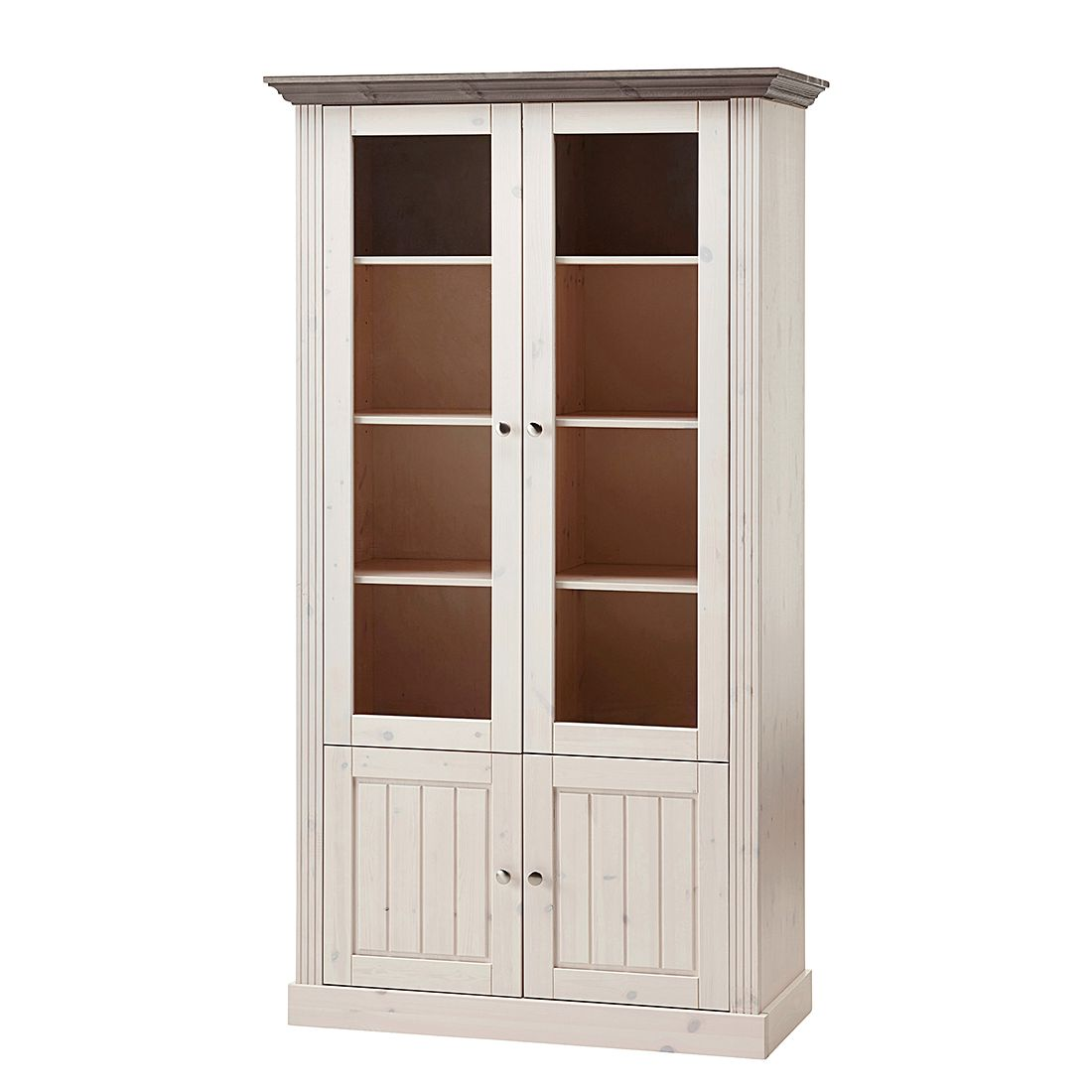 Armoire vitrine Lyngby I - Pin massif - Blanc / Gris minéral, Maison Belfort