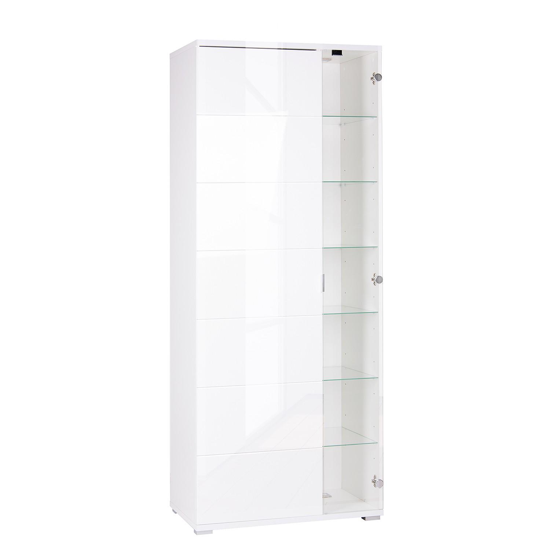EEK A+, Armoire vitrine Mamberg (avec éclairage) - Blanc brillant / Blanc, mooved