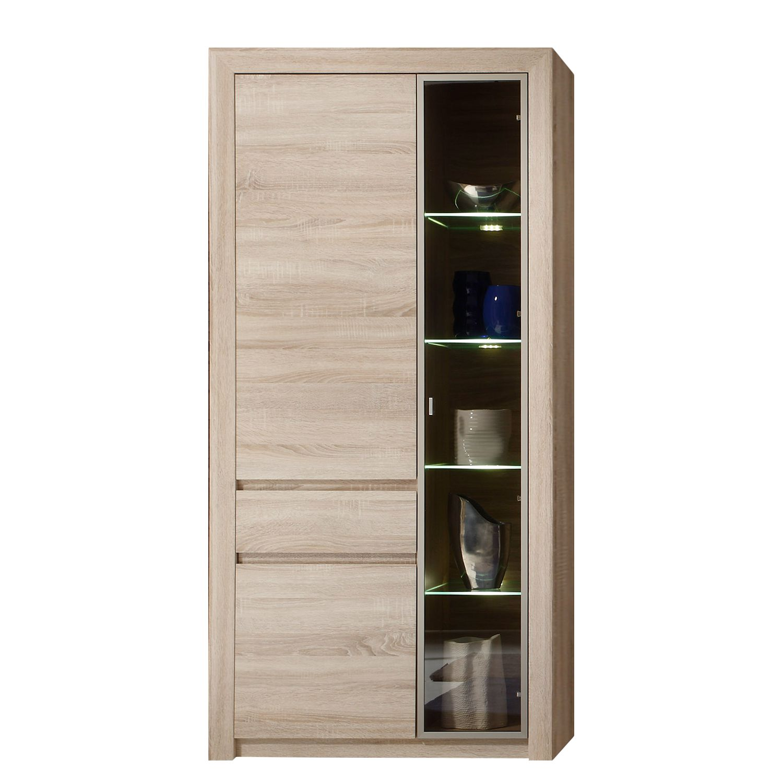 EEK A+, Armoire vitrine Santandria (avec éclairage) - Imitation chêne clair Sonoma, Trendteam