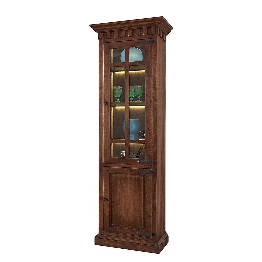 EEK A+, Armoire vitrine Vicuna I - Pin massif - Marron - Avec éclairage, Landhaus Classic