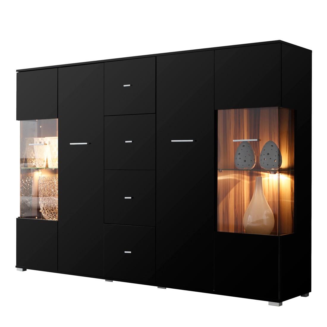 Dressoir Vogue - hoogglans zwart/notenboomhoutkleurig - met 3 deuren en 4 lades, Fredriks