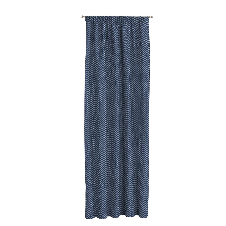 Gordijn Brooklyn - geweven stof - Marineblauw - 130x310cm, Dekoria