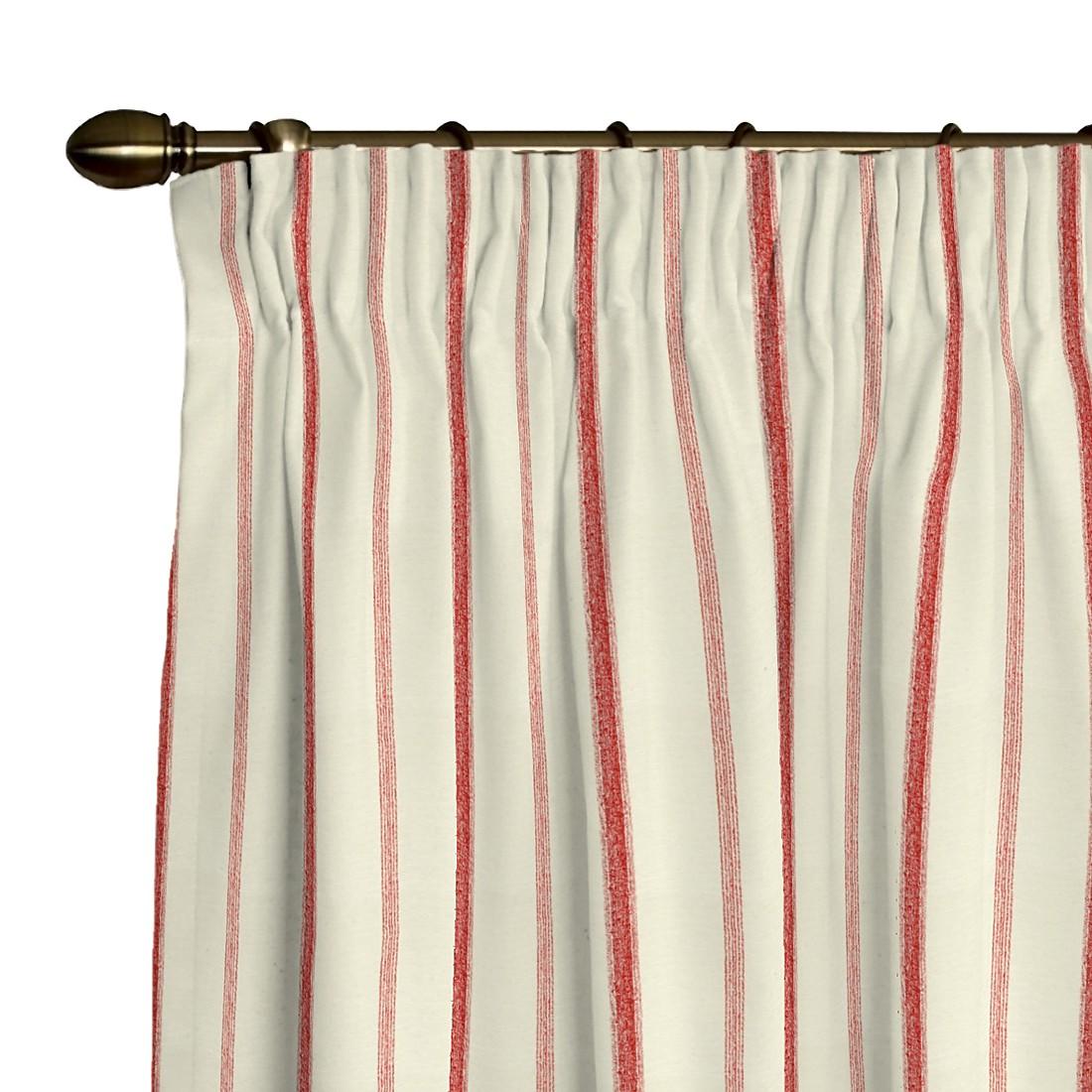 Home 24 - Rideau à galon fronceur - crème / rayé rouge - 130 x 260 cm, maison belfort