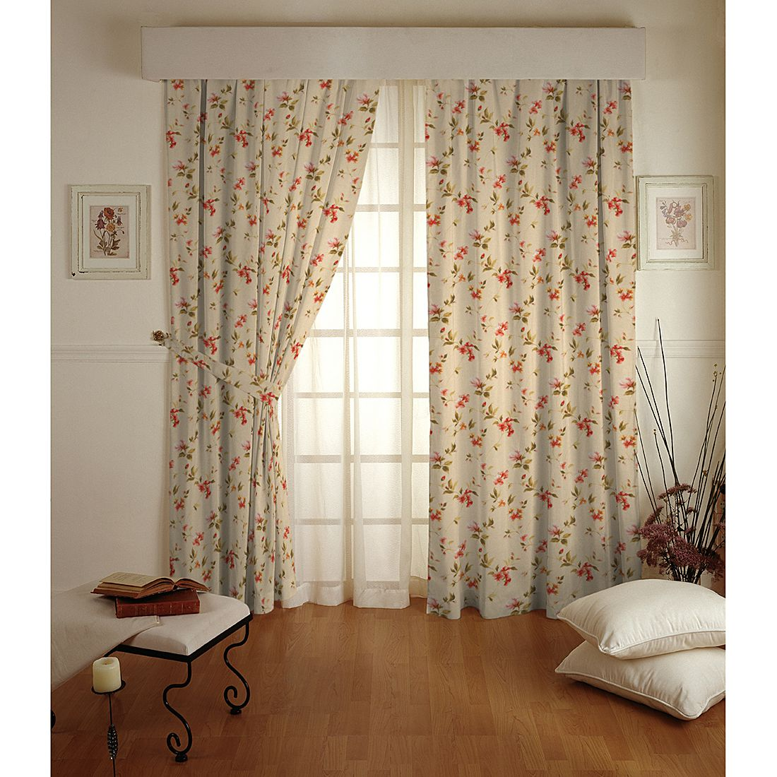 vorhang mit sen 130x260 cm gardine schal dekoschal. Black Bedroom Furniture Sets. Home Design Ideas