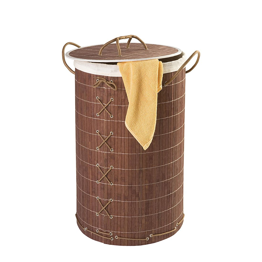 Wäschetruhe Bamboo - Dunkelbraun, Wenko