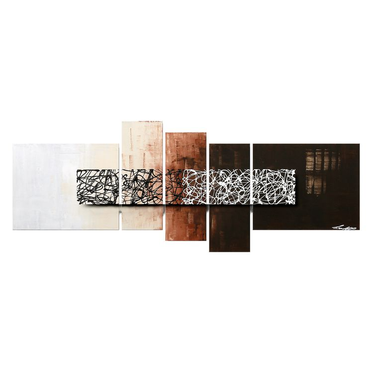 moderne schilderij Day at Night - 100% Handgeschilderd - 210x80cm, Wandbilder XXL