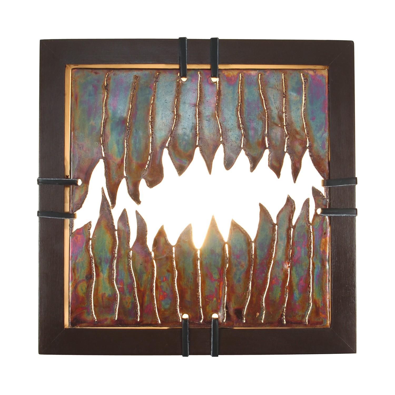 energie  A++, Wandlamp Aura - metaal/hout bruin 1 lichtbron, Näve