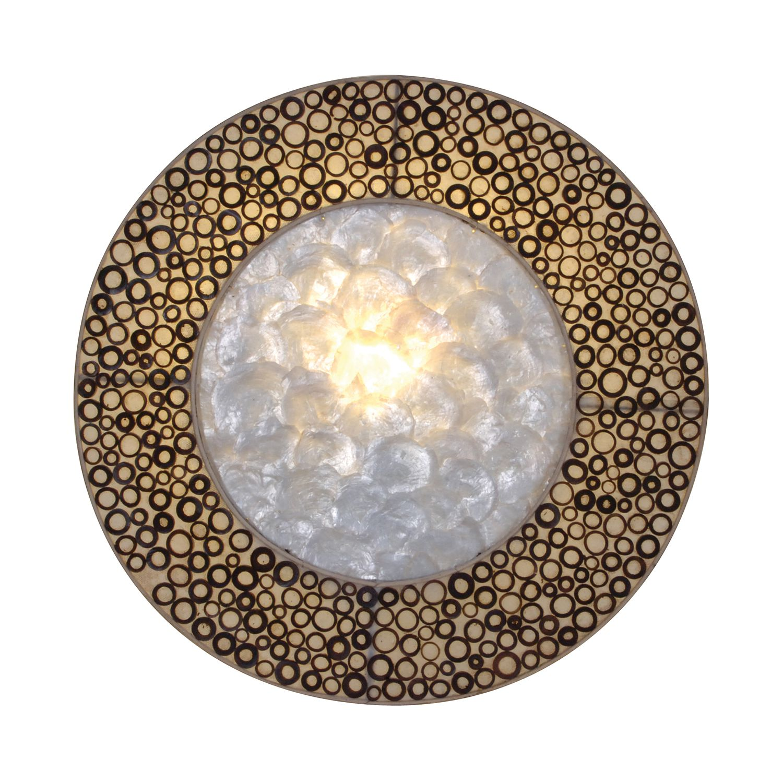energie  A++, Wandlamp Bankok - hout/schelpen bruin 1 lichtbron, Näve