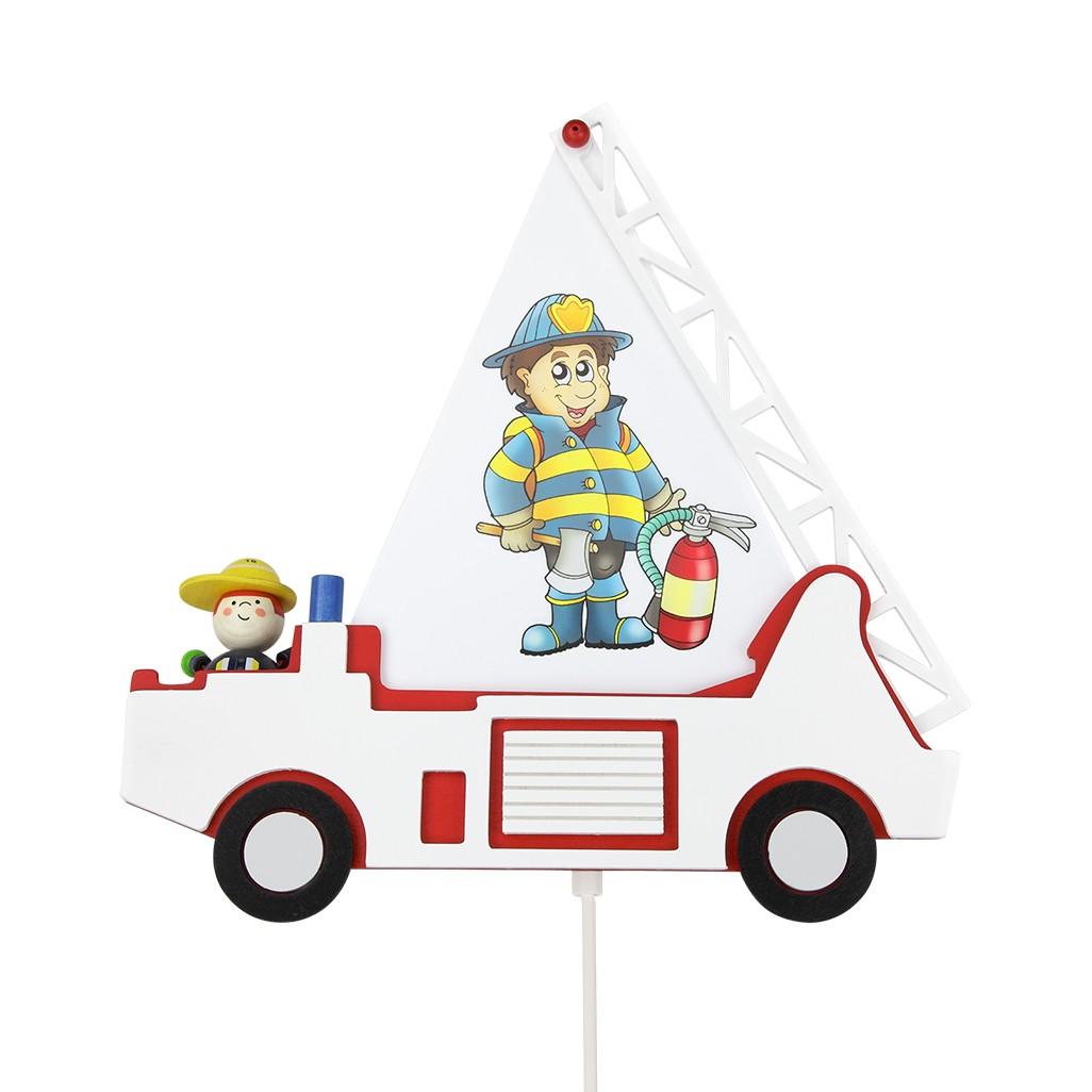 energie  A++_ Wandlamp Brandweerauto   hout 1 lichtbron_ Elobra