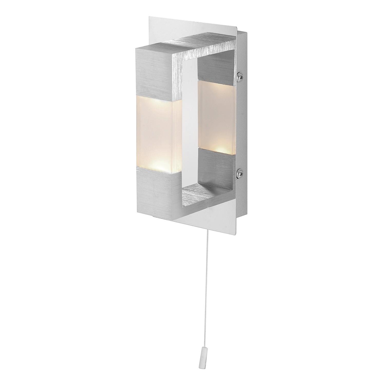 energie  A+, Wandlamp Kemos - aluminium zilverkleurig 2 lichtbronnen, Paul Neuhaus