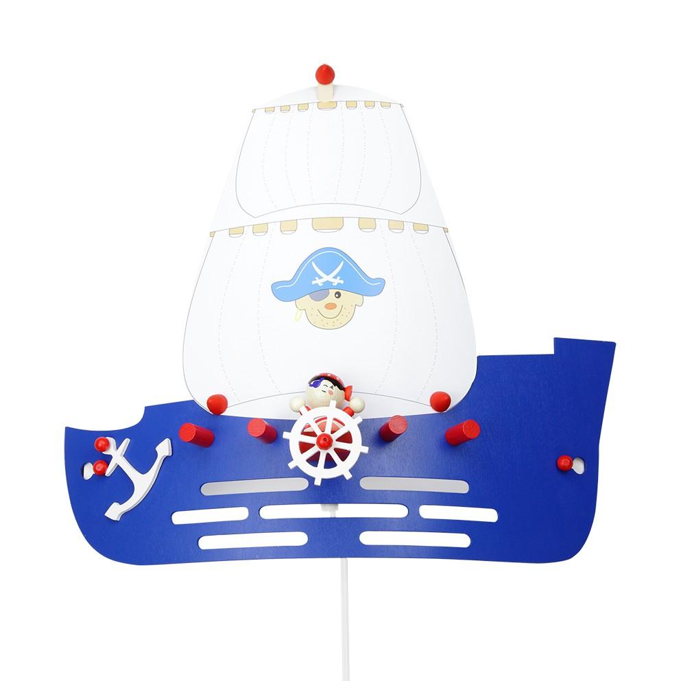 energie  A++_ Wandlamp Piratenschip   hout 1 lichtbron_ Elobra