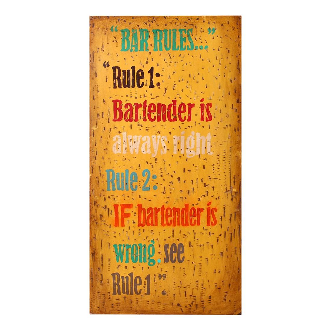 Wandpaneel Bar Rules - bruin - gelakt, ars manufacti