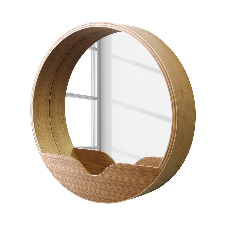 Spiegel Round Wall II   eikenhout_ Zuiver