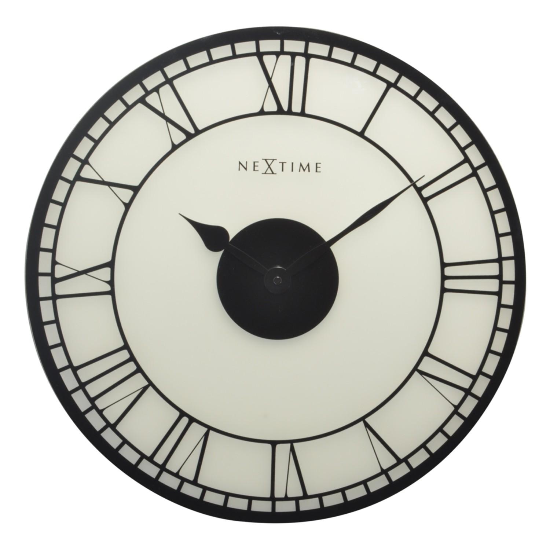 Wandklok Big Ben - mat glas - wit/zwart, Nextime