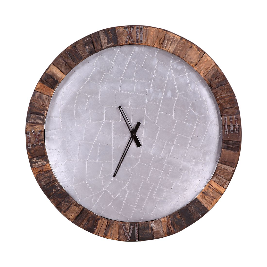 Home 24 - Horloge murale old forest i - bois recyclé - marron / argenté, ars manufacti