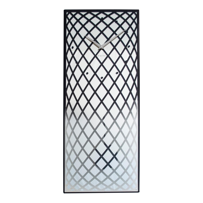 Wandklok Pendula - transparant glas - zilverkleurig/zwart, Nextime