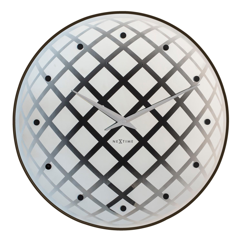 Wandklok Pendula Round - transparant glas - zilverkleurig/zwart, Nextime