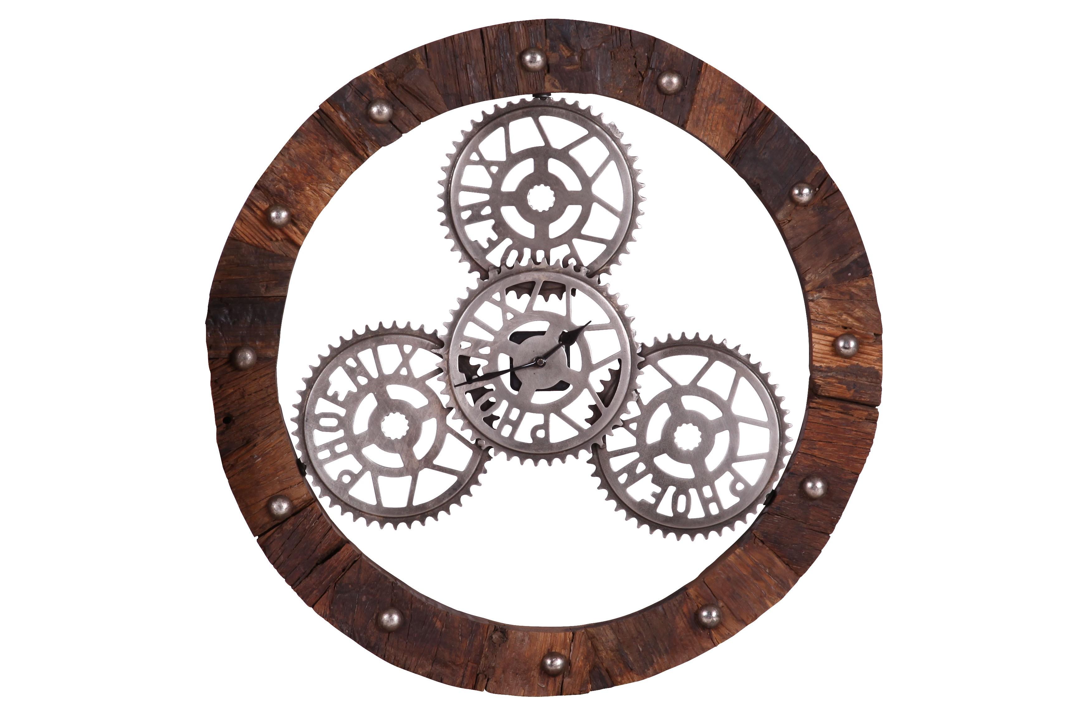 Home 24 - Horloge murale pinion - bois recyclé - marron / argenté, furnlab