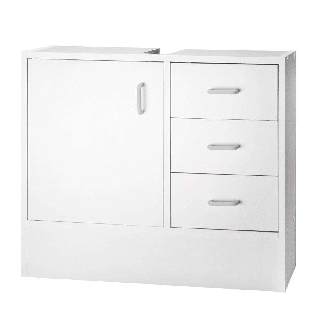 Armadietto da lavabo Cuneo - Con 1 anta e 3 cassetti in bianco, Kesper Badmöbel
