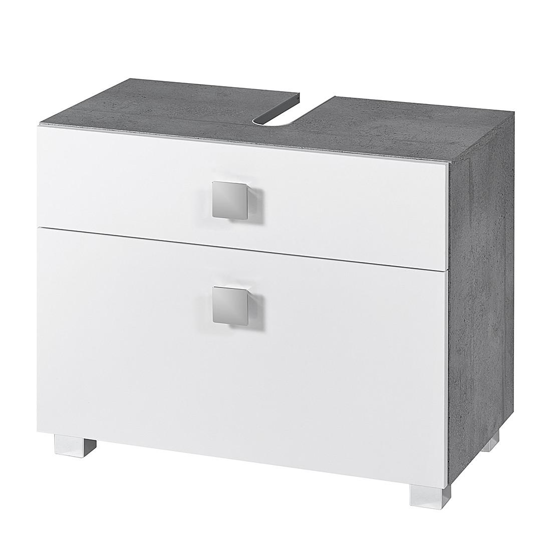 Armadietto da lavabo Genf - Bianco lucido/Grigio pietra, Schildmeyer