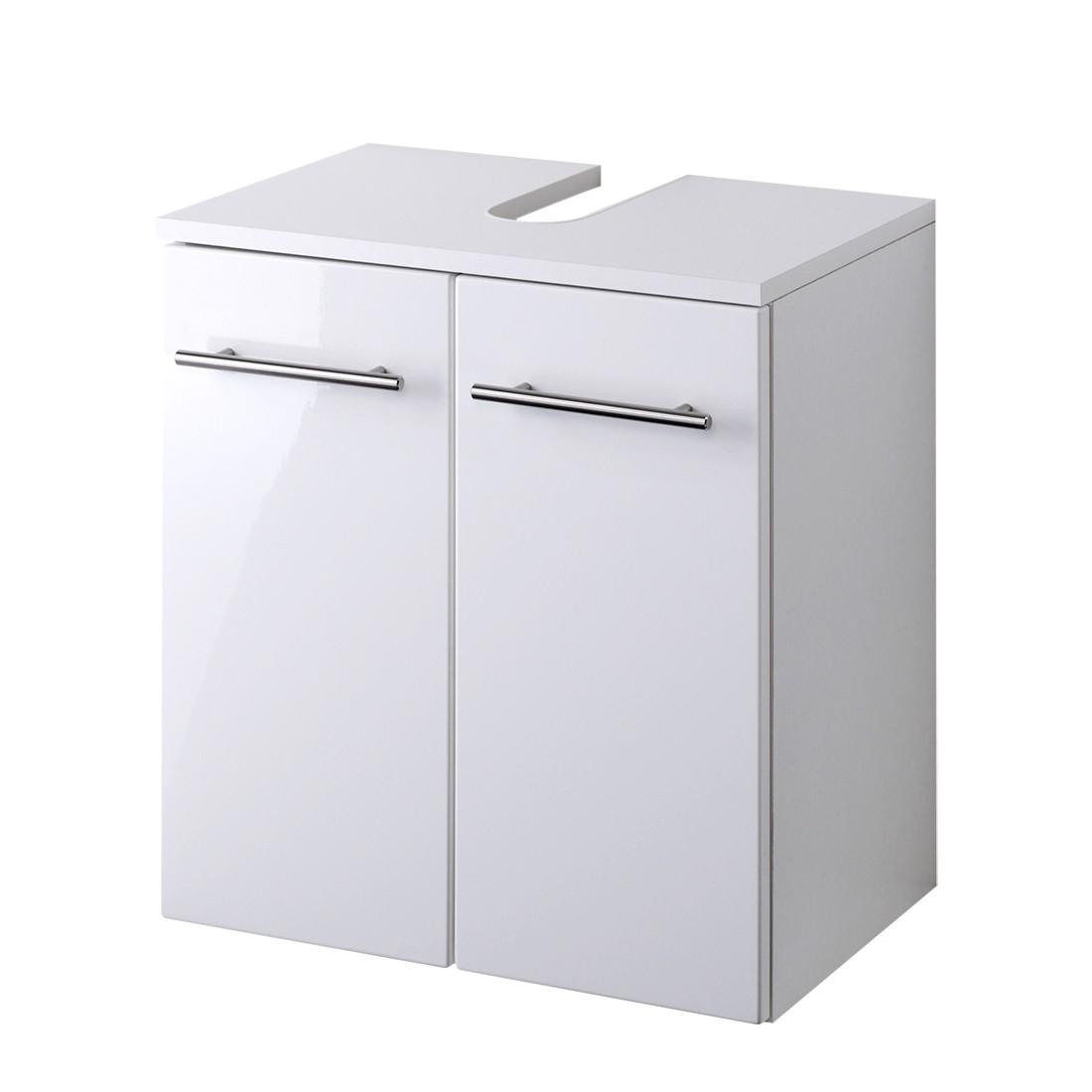 Armadietto da lavandino Kopenhagen - Bianco lucido/Bianco, mooved