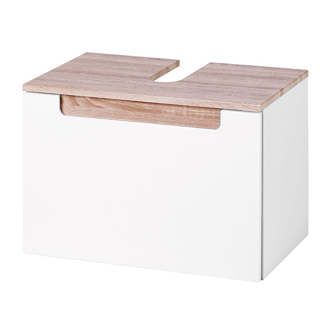 Armadietto da lavabo Laris - Bianco lucido/Effetto quercia di Sonoma, Fredriks