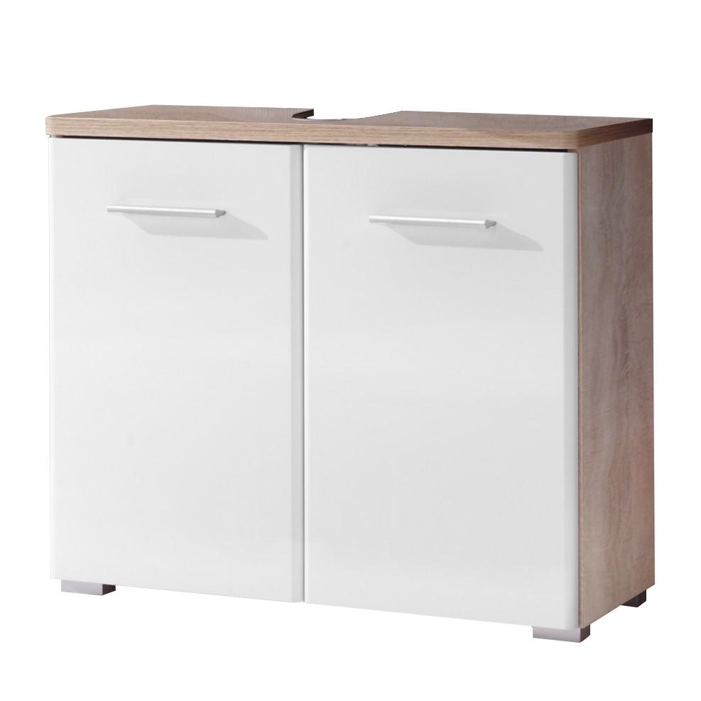 Armadietto da lavabo Narrows - Bianco lucido / Effetto quercia di Sonoma, mooved